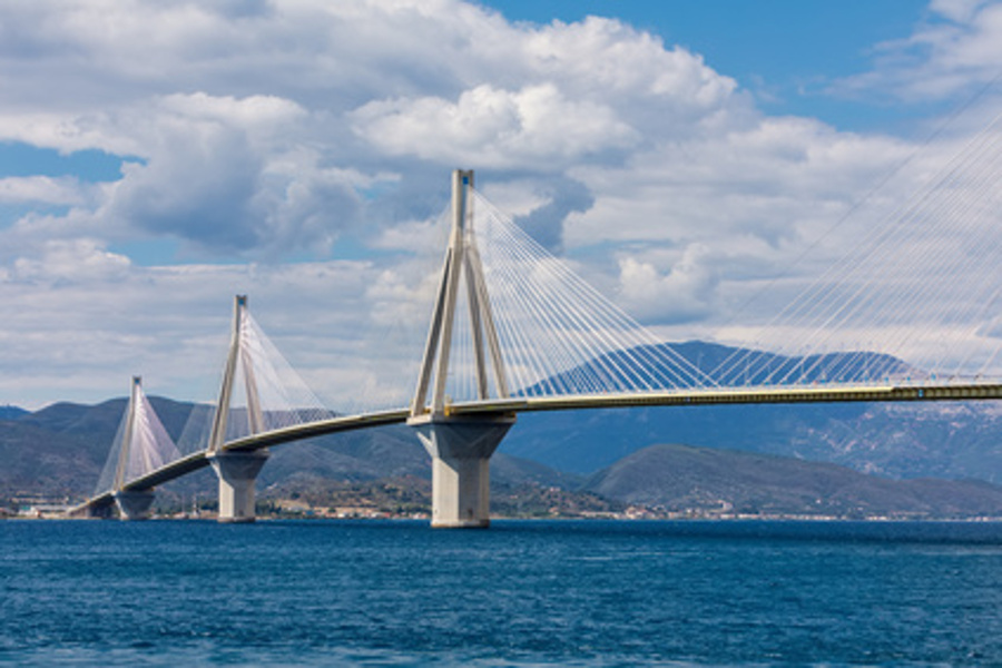 View of suspension bridge Rio-Antirio in Greece. Bridge crossing Corinth Gulf strait, Peloponnese, Greece